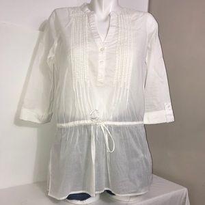 Calvin Klein White Cotton TieUp Waist Loose Blouse